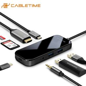 CableTime 8 in 1 USB C Hub with 60W Power Delivery support for £15.12 (using code) delivered @ AliExpress / CABLETIME Official Store