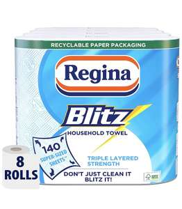 Regina Blitz Household KItchen Roll x8, 560 Super-Sized Sheets Triple Layered Strength 10 prime / £14.49 nonPrime / £6.50 s&s at Amazon