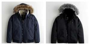 Faux-Fur-Lined Bomber Jacket (Black Or Navy XS - XL) £30.69 & Free Delivery via App @ Hollister