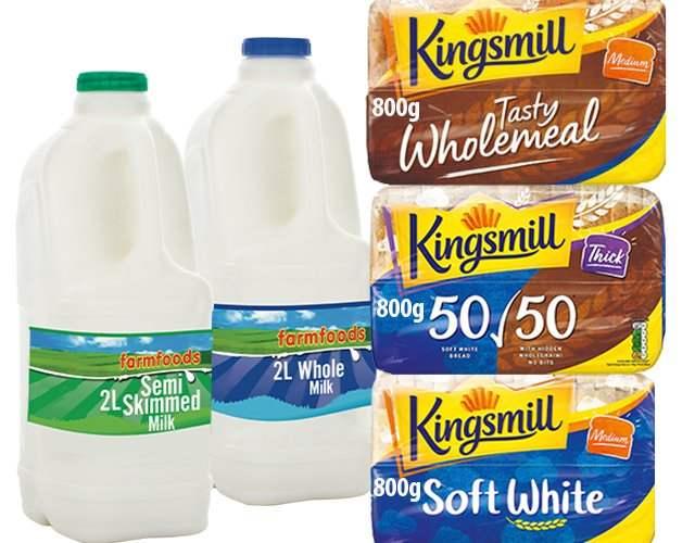 2L Farmfoods Milk & 800g Kingsmill Bread (various varieties) 89p Each / 2 for £1.60 / 4 for £3.00 @ FarmFoods