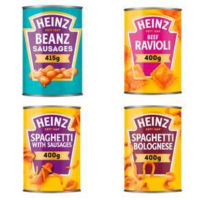 Heinz Beanz with Pork Sausages, Spaghetti & Sausages, Spaghetti Bolognese, Macaroni Cheese 62p (Minimum Basket / Delivery Fees) @ Iceland