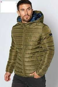 JACK AND JONES Mens Wing Hooded Puffer Jacket Olive Night £19.99 (£4.99 delivery) @ MandM Direct