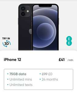 Apple iPhone 12 64GB Unlimited Mins Unlimited Texts £41 pm / 24 months with 75GB data on EE @ Buymobiles