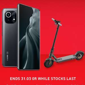 Pre-order the Xiaomi Mi 11 Smartphone and claim a FREE Mi Electric Scooter Essential £47 / 24month + £29 Upfront for 100GB data at Vodafone
