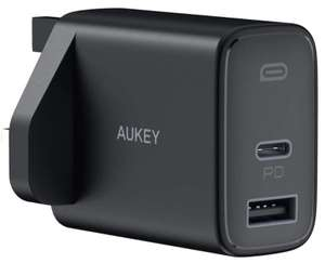 AUKEY USB C Plug, 32W 2-Port Fast USB C Charger 20W iPhone 12 Charger, PD Power Adaptor £13.99 Prime/+£4.49 NP @ Sold by MingXi Eu and FBA
