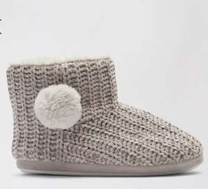 Grey Chenille Pom Slipper Boots £6 BOGOF (Other Designs Available) @ Dorothy Perkins