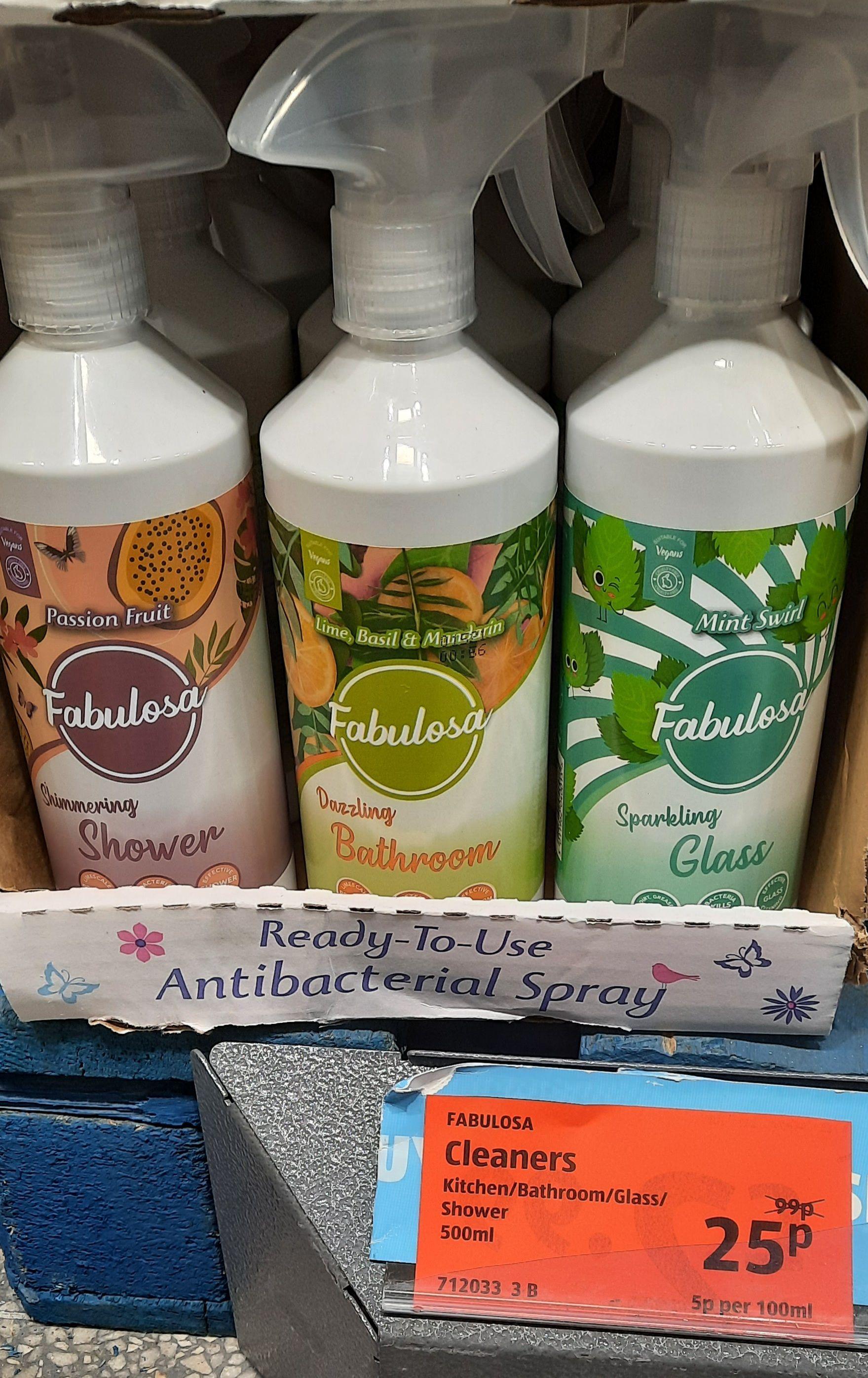 Fabulosa Spray Cleaners, 500ml: Passionfruit / Lime, Basil & Mandarin / Mint Swirl - 25p instore @ Aldi, Preston
