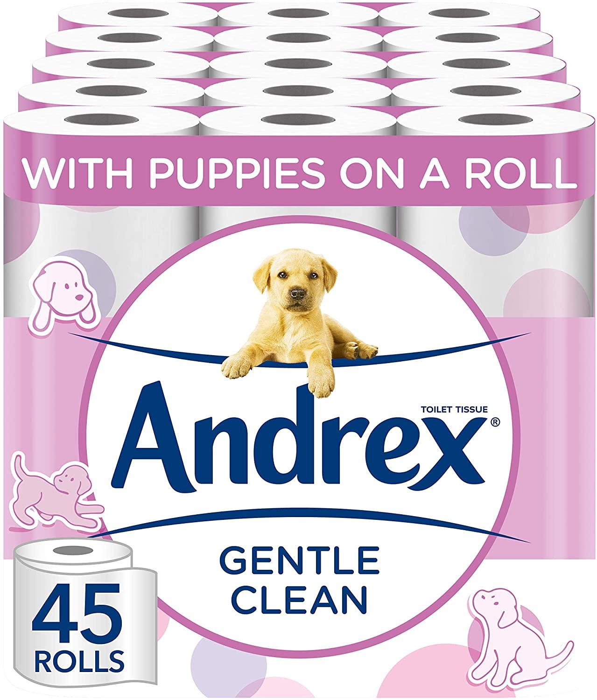 Andrex Toilet Roll - Gentle Clean Toilet Paper, 45 Rolls - £16.88 Prime / +£4.49 non Prime @ Amazon