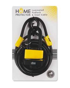 Home Protector Padlock & Cable - £4.99 + £2.95 delivery @ Aldi