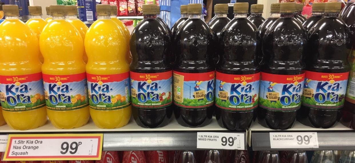 1.5ltr Kia ora orange/mixed fruits/blackcurrant 99p each at Farmfoods Sutton