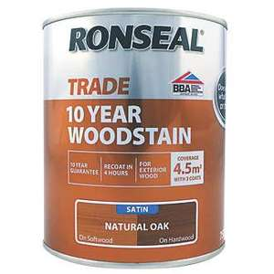 Ronseal Exterior Woodstain Satin Natural Oak 750ml £9.99 + £5 delivery at Screwfix