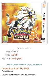 Pokémon Sun (Nintendo 3DS) - £9.99 with Prime or £13.98 Non-Prime or Free Delivery over £20 @ Amazon