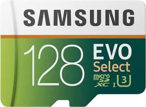 Samsung EVO Select 128GB microSDXC UHS-I U3 100MB/s Full HD & 4K UHD Memory Card with SD Adapter - £13.99 Prime (+ £4.49 NP) @ Amazon