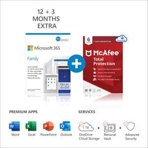 15 Month Microsoft 365 Subscription with either McAfee Total Protection 2021 or Norton Deluxe - £54.54 @ Amazon