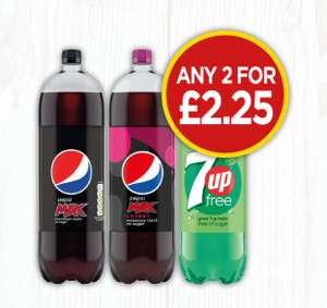 Pepsi Max, Pepsi Max Cherry, 7up Free - Any 2 for £2.25 at Budgens