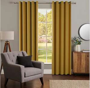 Nova Old Gold Blackout Eyelet Curtains From £10 (£3.95 delivery) @ Dunelm