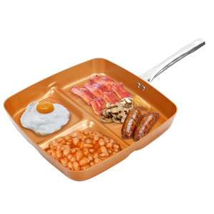 3-in-1 Non Stick Copper Divider Frying Pan £10 @ Weeklydeals4less