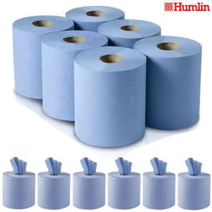 6 Pack Centre Feed Rolls Embossed Blue Hand Towels Office Workshop 2Ply - £8.75 Delivered @ dickensbedding via Ebay
