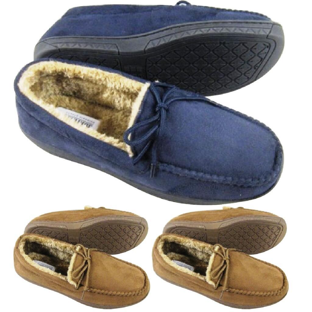 Men's Moccasins Warm Faux Suede Sheepskin Fur Lined Winter Loafers Slippers £8.95 Delivered at eyesontoes eBay