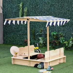 Wooden Sandpit with 2 Built-in Benches & Adjustable Canopy £83.99 using new customer code + Free UK mainland delivery @ Aosom