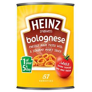Heinz Beef Ravioli in Tomato Sauce (OOS Now) or Heinz Spaghetti Bolognese 400gm - 62p Prime (+£4.49 non Prime) Delivered @ Amazon