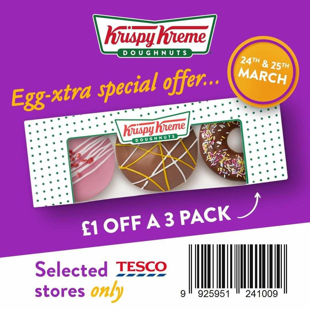 Get £1 OFF A 3 Pack Krispy Kreme Easter Doughnuts @ Tesco INSTORE