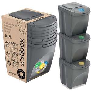 Set of 3 25 Litre Stackable Recycling Bins £20 + Free Delivery @ WeeklyDeals4less