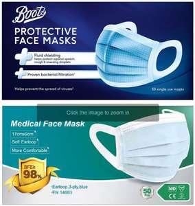 50x Protective Medical Face Masks 3PLY Buy one get 1 free - 2 packs of 50 for £30. Free Delivery @ Boots