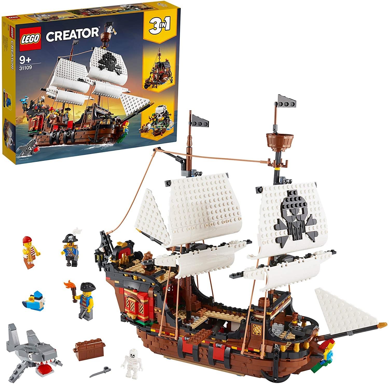 LEGO Creator 31109 3in1 Pirate Ship, Inn & Skull Island Toy Set £54.99 @ Amazon