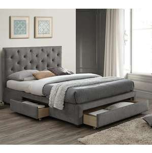 Monet Grey Fabric Bed Frame With Drawers Double £319.20 / King £351.20 + £9.95 Delivery @ Dunelm