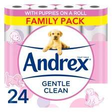 Andrex Toilet Tissue Gentle Clean 24 Roll £8.00 Clubcard Price (+ Delivery Charge / Minimum Spend Applies) @ Tesco