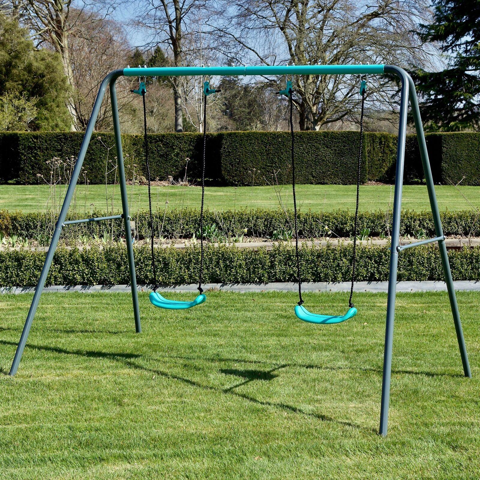 Rebo Children's Metal Garden Swing Set – Double Swing now £71.96 delivered using code @ eBay / outdoortoy