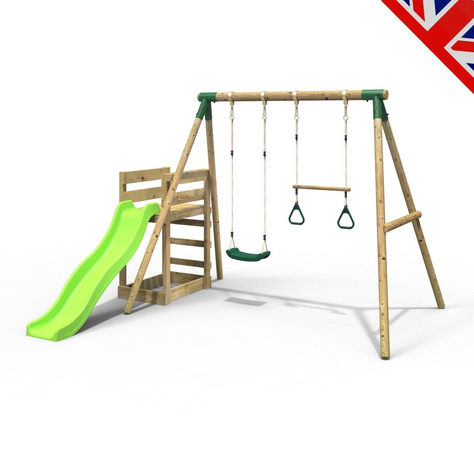 Rebo Wooden Swing Set plus Deck & Slide - Janus Green £223.16 @ eBay outdoortoy