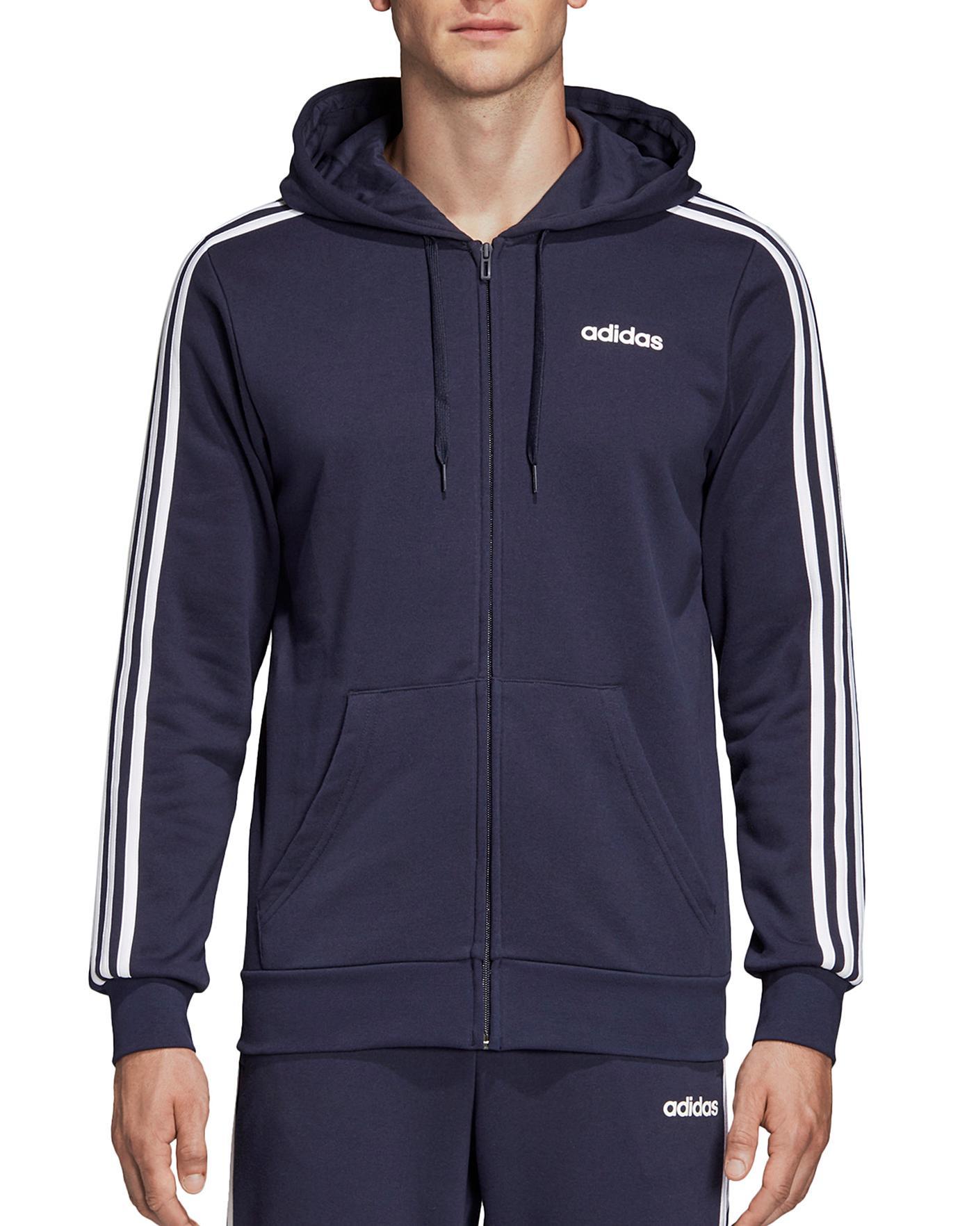 Adidas Essentials 3 Stripe Full Zip Hoodie (S - XXL) £24.38 With Code & Free Delivery @ Jacamo