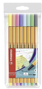Fineliner - STABILO point 88 Wallet of 8 Assorted Pastel Shades - £2.99 (+£4.49 Non-Prime) @ Amazon