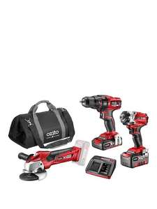 Ozito 3 Piece Cordless Drill, impact driver & Grinder Set includes +2 Batteries and bag £159.99 delivered @ Very
