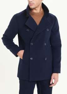Navy Colour Double Breasted Funnel Neck Coat - £15.30 (+ £3.95 Delivery) @ Matalan