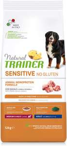 Natural Trainer Sensitive No Gluten Medium & Maxi Adult Dry Dog Food with Pork and Whole Grain 12kg - £14.01 (+£4.49 Non Prime) @ Amazon