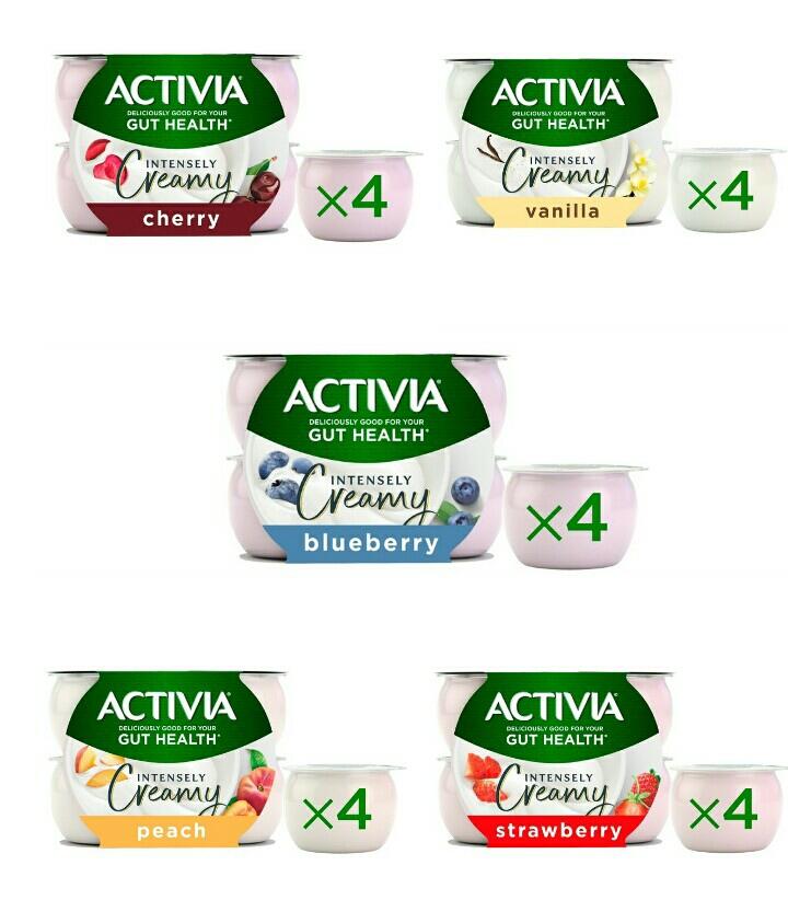 Activia Intensely Creamy Yogurt 4 x 110g Strawberry / Cherry/ Blueberry / Peach / Vanilla - £1 @ Morrisons