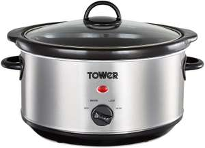 Tower T16039 Slow Cooker 3 Heat Settings / Removable Dishwasher Safe Crock Pot, 3.5L Stainless Steel - £14.52 (+£4.49 Non Prime) @ Amazon