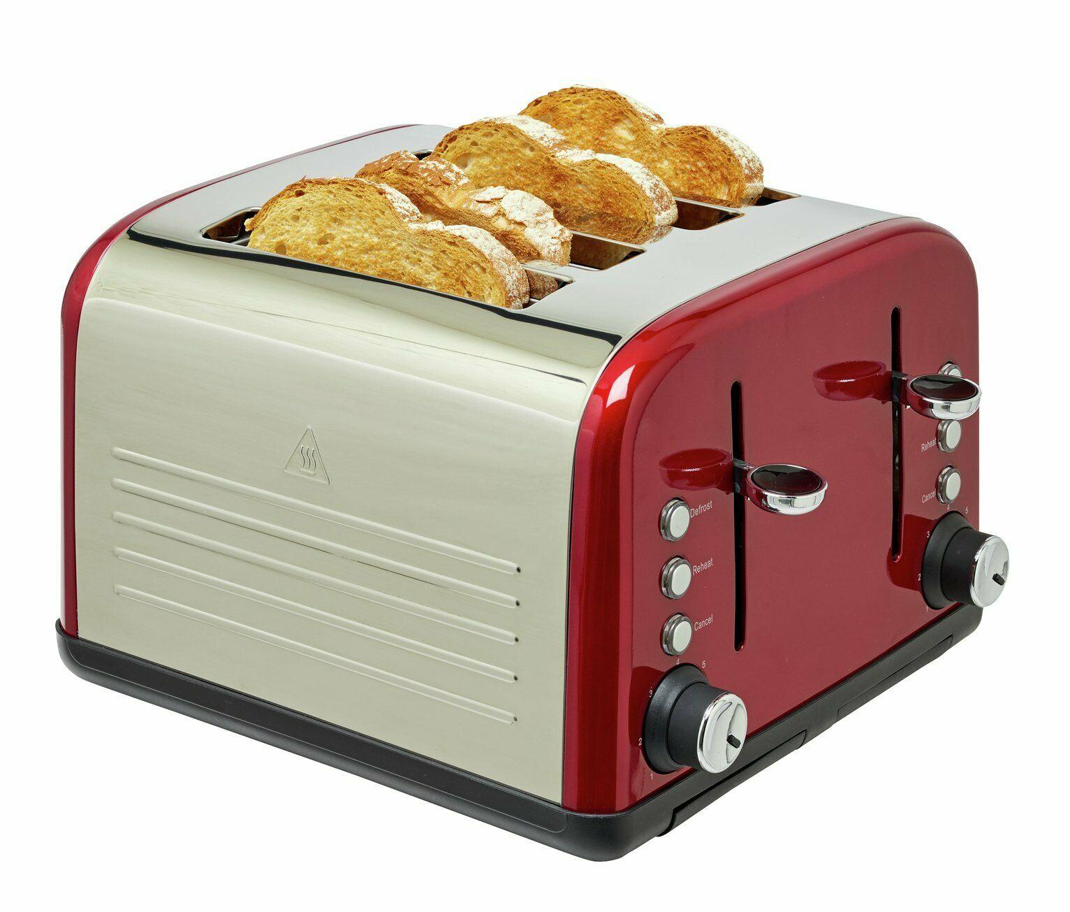 Cookworks 1800W 4 Slice Independent Wide Slot Toaster - Red - £13.99 @ Argos / ebay