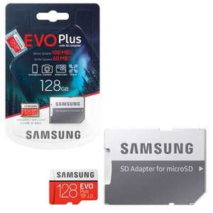 Samsung EVO Plus Micro SD SDXC Memory Card U3 Class 10 and 4K with SD Card Adapter - 128GB. £15.99 delivered @ 7Dayshop