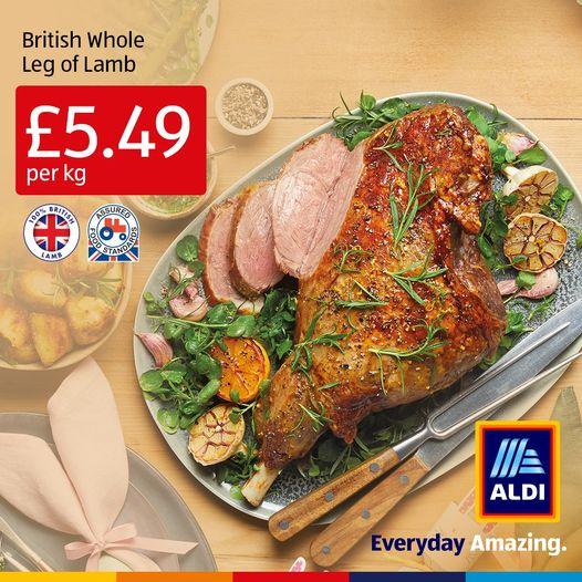 Aldi Fresh British Leg Of Lamb £5.49 kg