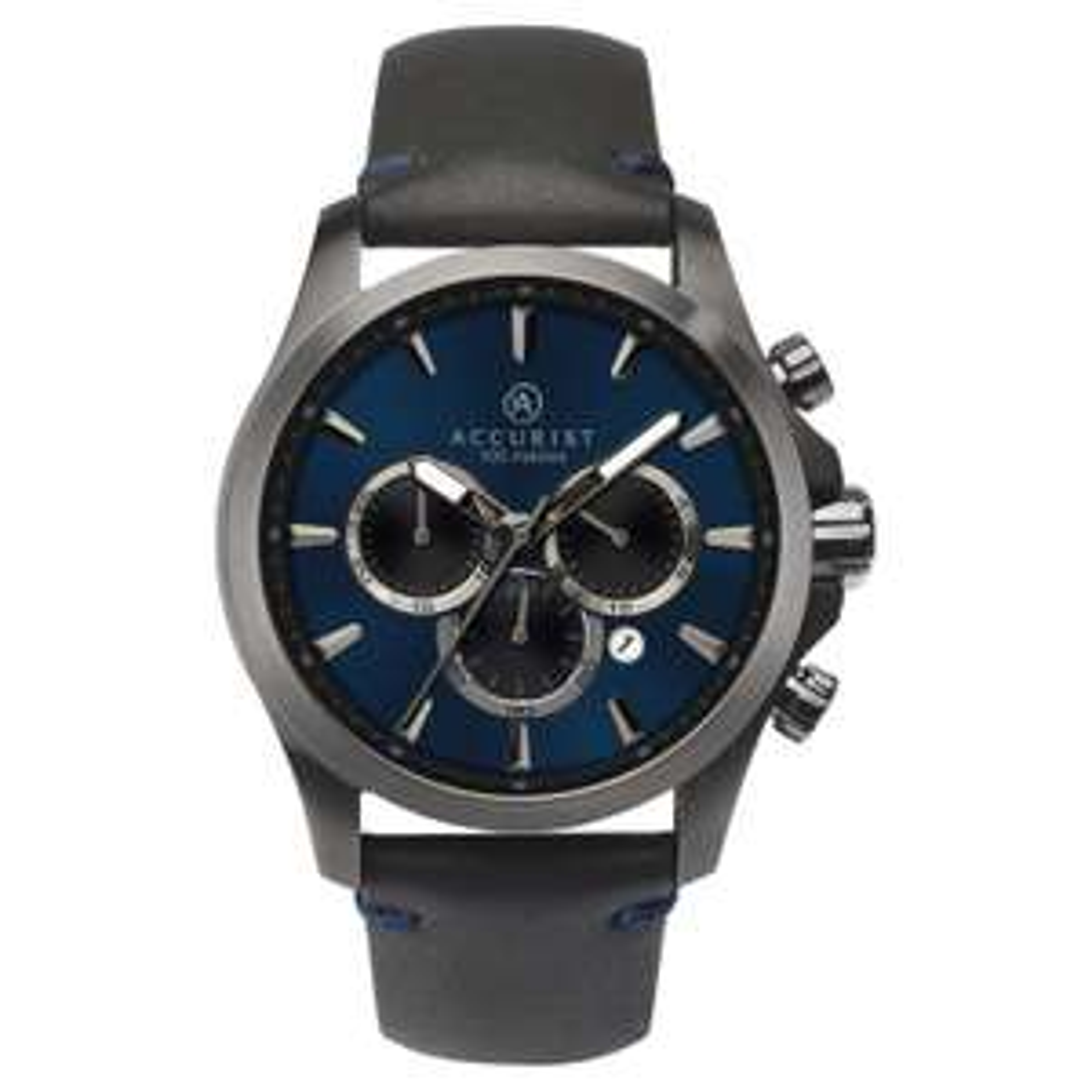 Accurist Chronograph Men's Black Leather Strap Watch £62.99 delivered @ H Samuel
