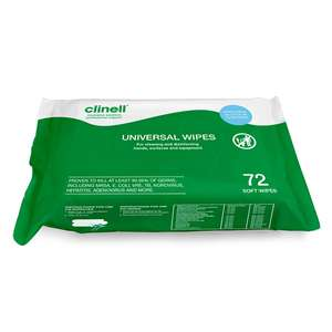 Clinell Universal Sanitiser Wipes 72 Pack £0.36 (free click and collect) @ Euro Car Parts