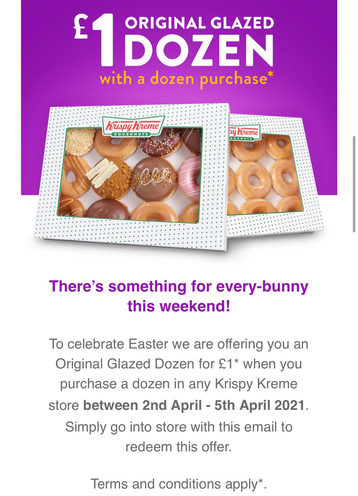 £13.95 Krispy Kreme buy a dozen doughnuts and get original glazed dozen for £1