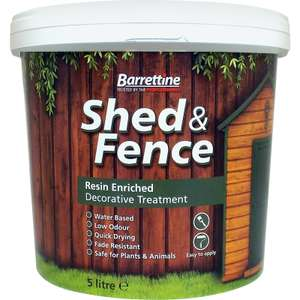 Barratine Shed & Fence Treatment 5L (Harvest Gold Or Urban Grey) £4.88 C&C @ Toolstation