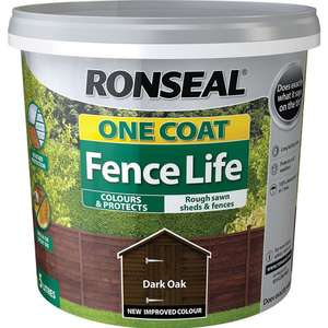 Ronseal One Coat Fence Life Dark Oak Exterior Wood Paint 5L, Various Colours - £5 @ Wilko (Spotted Castleford)