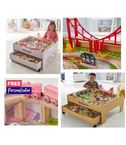 Personalised 2-in-1 Reversible Pine or Pink City and Train Table Set £55.98 (Possible 20% off first orders + Free delivery) @ Studio
