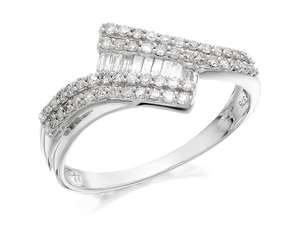 9ct White Gold Two Row Diamond Crossover Ring - 1/3ct - £199 / £200.99 delivered @ F.Hinds